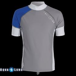 Ref: ST 66022- Top Lycra Grey/Blue Men Short Sleeves