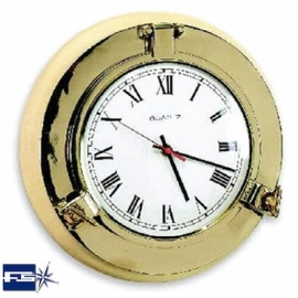 Ref: FS 2022.L - Polished Brass Opening Port Hole W/ Clock