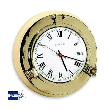 Ref: FS 2022.L - Polished Brass Opening Port Hole W/ Clock