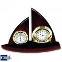 Ref: FS 2163.L - Wooden Sailing Boat w/ Clock & Thermometer